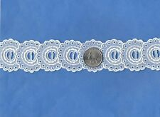"Cotton Organdy Embroidered BEAD Applique Trim 1 1/2"" WHITE Heirloom 4 yd Vintage"