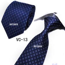 Classic Checks Light Dark blue grid JACQUARD WOVEN 100% Silk Men's Tie Necktie