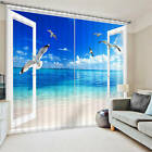 Seagull Flying To 3D Window Beach Blockout Photo Printing Curtains Draps Fabric