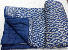 Hand Block Print 100% Cotton Natural Kantha Bed Cover Flower Print Throw Quilt