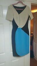 Stunning Designer Hybrid dress 12 occasion work wedding black cream turquoise