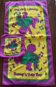 Vintage Barney & Baby Bop 1992 Bath Towel Washcloth Cotton Purple Dinosaur 42x23