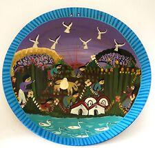 "Vintage Mexican Terra Cotta Festive Folk Art Pottery Plate, Hand Painted, 10.25"""