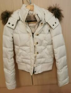 Abercrombie and fitch White Coat Faux Fur Hood Down Filled xs