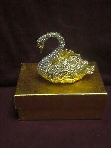 "RUCINNI SWAROVSKI SWAN TRINKET BOX  2 3/4"" X 2 3/4"" X 2""  ORIGINAL BOX"