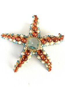 Vintage *Kenneth Jay Lane KJL * Cabochon Starfish Brooch Pin .