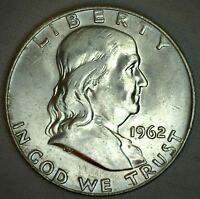 1962 D SILVER Franklin Half Dollar United States Coin Uncirculated 50 Cents 50c