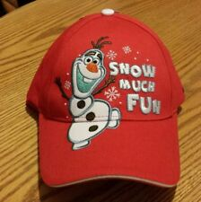"""NWT Disney's Frozen Olaf Red Baseball Cap Hat Kids One Size """"Snow Much Fun"""""""