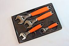 Snap On Tools Orange Adjustable Wrench Set 4pc. Flank Drive With Cushion Grips