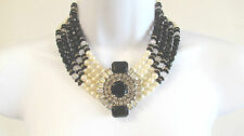 VINTAGE PEARL-CRYSTAL BLACK FACETED GLASS BEADS STATEMENT PENDANT NECKLACE