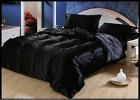 SOFT BLACK SOLID SATIN SILK POLYESTER  COMFORTER -1PC -150 GSM/180 GSM/220 GSM
