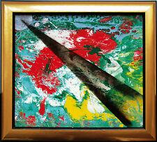 Light beam  Schwarzer Lichtkegel  Planet Gemälde 42.5 x 50 cm Jozsef Toth *1944