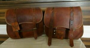 Leather Motorcycle Goat Bag Saddle Bags Side Panniers Pouch Saddlebag Brown New