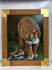 Mabel Blanco Original Acrylic Painting Cougar/Mountain Lion Framed Original