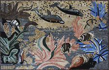 Two Dolphins Swimming Among fishes In The Ocean Marble Mosaic AN243