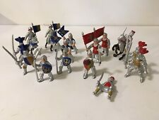 Safari Ltd Medieval Knights Horses Armour Blue Red Flag Mini Figures Lot of 18