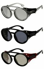 Sunglasses Dystopian Style Mens Womens Steampunk Leather Detail Side Cover Bold