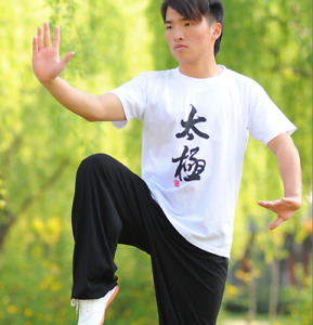 Cotton Shaolin Kung Fu Jacket T-shirt Martial Arts Tai Chi Clothes Practice Clot
