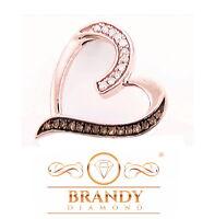 Brandy Diamond® Chocolate Brown 10K Rose Gold My Heart Necklace Pendant .22 Ct.