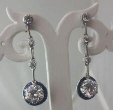 Wedding Dangle Earrings 925 Sterling Silver Blue White Flower Jewelry Women Gift