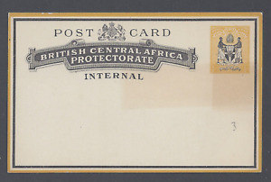 BRITISH CENTRAL AFRICA PROTECTORATE INTERNAL POST CARD ½d BLACK ANDYELLOW UNUSED