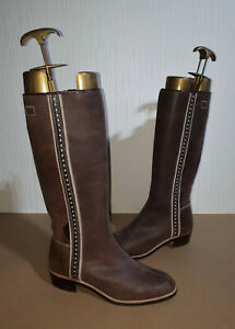 Petusco Two Tone Brown Leather Pull On Riding Boots Western Style Ladies UK 8
