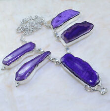 """Handmade Dragon Veins Agate Pure 925 Sterling Silver Necklace Size 18.5"""" #AA997"""