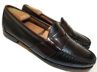 SEBAGO Mens 11 M Black Leather Penny Loafers Dress Casual Shoes Burgundy 2Tone
