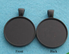 10 x Double Sided Bezel Pendant Cabochon Settings 25mm inner Black