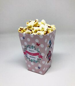 5 x Jemima Peter Rabbit Childrens Personalised Mini Popcorn Party Boxes Favour