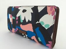 New Ladies Fossil 'Caroline' Black Floral RFID-blocking Slim Bifold Wallet