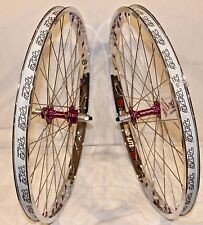 BMX BICYCLE WHEEL SET SUN TNT BICYCLES CHROME / PURPLE, DERRINGER, 24 inch - NEW
