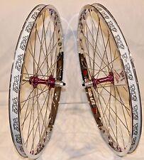 BMX BICYCLE WHEEL SET SUN TNT BICYCLES CHROME / PURPLE, DERRINGER, 24 inch - NEW