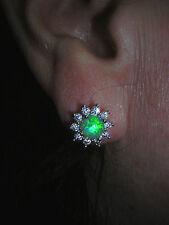 Opal Ohrringe grüner Feueropal in 925 Sterling Silber gefasst  10 mm Durchmesser