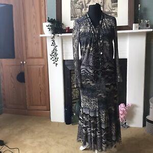 Ladies Jospeh Ribkoff 3 piece boho hippy suit set size 12 cami jacket skirt