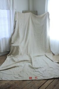 Antique cart cover heavy upholstery fabric GRAY hemp cloth great for bed cover