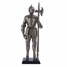 "Medieval Knight Statue Spear Statue 12"" H Suit of Armor with Stand"