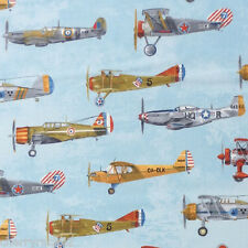 Robert Kaufman TRANSPORTATION vintage military fighter aircraft Fabric - Blue