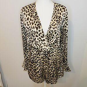 BNWT BOOHOO Size 12 Lara Leopard Print Wrap Playsuit Waist Tie Satin