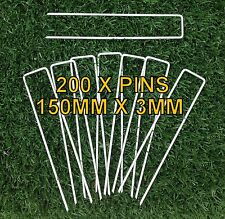 200 x WEED MAT PINS - 3MM x 150MM - SECURE WEEDMAT, GEOTEXTILE, IRRIGATION, MESH