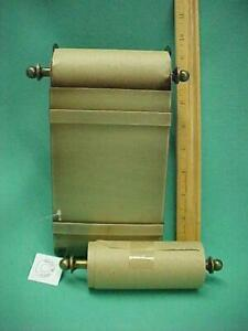New Desk Top Desktop Note Paper Roll Antique Brass Holder w/2 Note Rolls NOS