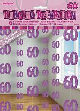 5ft Glitz PINK Birthday Girls Party Hanging String Decoration Age Number Printed