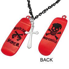 Pendentif-collier homme en acier rouge tête de mort et charm croix latine ZP0088