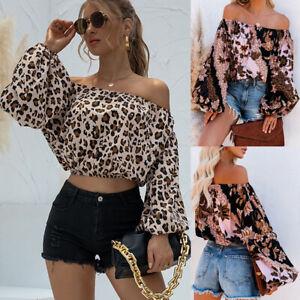 Ladies Women Casual Leopard Crop Top T-shirt Sexy Off Shoulder Puff Sleeve Print