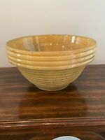 "RARE Antique yellow stoneware fruit bowl beehive pattern 10 inch ""yelloware"" EUC"