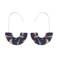 Bohemian Acrylic Resin Round Hoop Earrings Tortoise Shell Leopard Colorful Disc