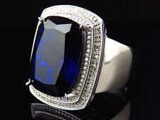 Men's White Gold Finish Blue Sapphire and Genuine Diamond Statement Ring .50Ct