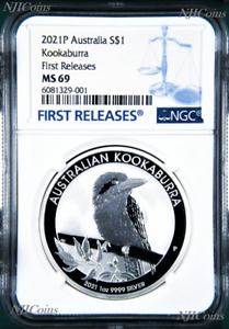 2021 P Australia .9999 Silver Kookaburra NGC MS 69 $1 1 oz Coin FR BLUE Label
