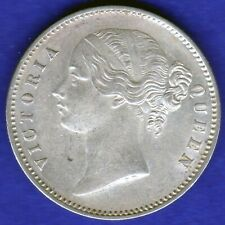 BRITISH INDIA-1840-DIVIDED LEGEND-ONE RUPEE-VICTORIA- NEAR UNC SILVER COIN-4