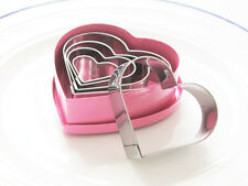 5 SHABBY CHIC FRENCH VINTAGE PINK RETRO HEART COOKIE CUTTERS KITCHEN CHRISTMAS